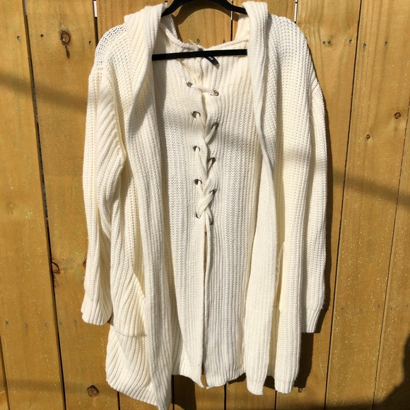 Ventti Sweaters - Creme Tie Back Over Sized Cardigan